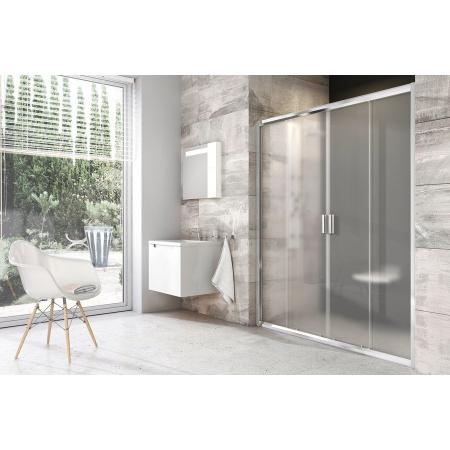 Ravak Blix BLDP4 Drzwi prysznicowe 140x190 cm z powłoką AntiCalc, profile białe szkło przezroczyste 0YVM0100Z1