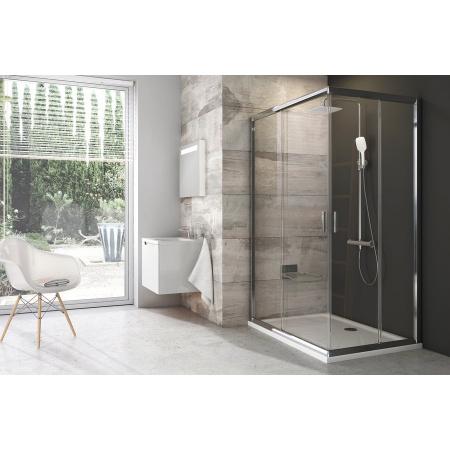 Ravak Blix BLRV2K-90 Drzwi prysznicowe 90x190 cm z powłoką AntiCalc, profile aluminium szkło przezroczyste 1XV70C00Z1