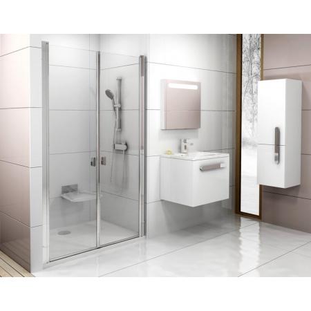 Ravak Chrome CSDL2 Drzwi prysznicowe 100x195 cm z powłoką AntiCalc, profile aluminium szkło przezroczyste 0QVACC0LZ1