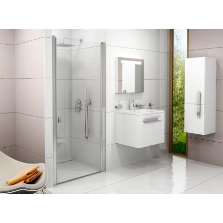 Ravak Chrome CSD1 Drzwi prysznicowe 80x195 cm z powłoką AntiCalc, profile aluminium szkło przezroczyste 0QV40C00Z1