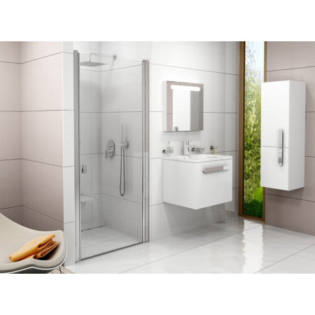 Ravak Chrome CSD1 Drzwi prysznicowe 90x195 cm z powłoką AntiCalc, profile aluminium szkło przezroczyste 0QV70C00Z1