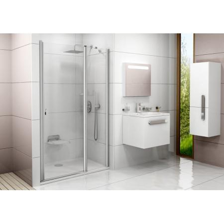 Ravak Chrome CSD2 Drzwi prysznicowe 120x195 cm z powłoką AntiCalc, profile aluminium szkło przezroczyste 0QVGCC00Z1