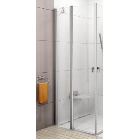 Ravak Chrome CRV2-120 Drzwi prysznicowe 120x195 cm z powłoką AntiCalc, profile aluminium szkło przezroczyste 1QVG0C00Z1