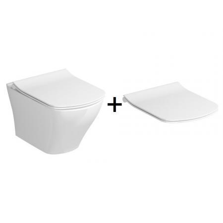 Ravak Classic Zestaw Toaleta WC podwieszana 51x36,5 cm RimOff bez kołnierza z deską wolnoopadającą Slim biały X01671+X01673