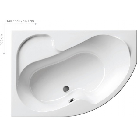 Ravak Rosa I Wanna narożna 150x105x47 cm akrylowa lewa, biała CK01000000