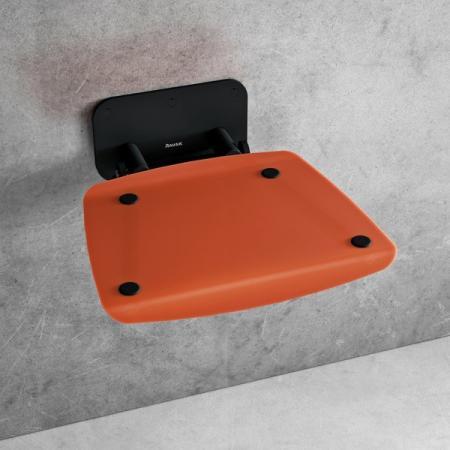 Ravak Ovo B II Siedzisko prysznicowe czarne/pomarańczowe B8F0000061