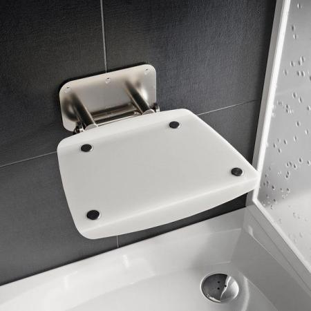 Ravak Ovo B II Siedzisko prysznicowe stal nierdzewna/białe B8F0000052