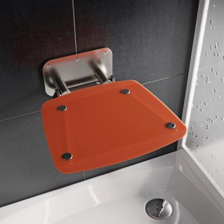 Ravak Ovo B II Siedzisko prysznicowe stal nierdzewna/pomarańczowe B8F0000053