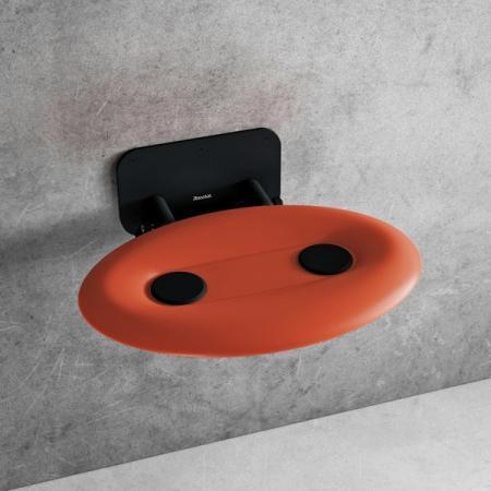 Ravak Ovo P II Siedzisko prysznicowe czarne/pomarańczowe B8F0000058