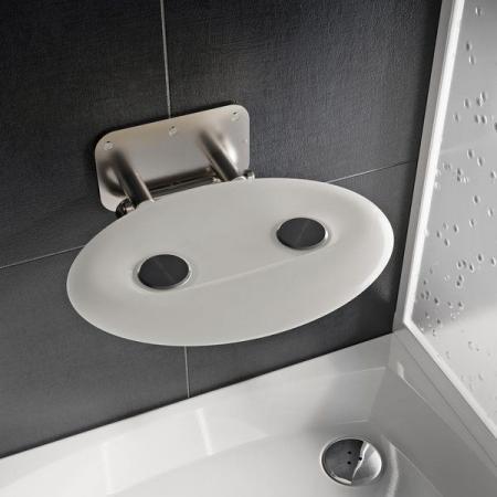 Ravak Ovo P II Siedzisko prysznicowe stal nierdzewna/białe B8F0000049