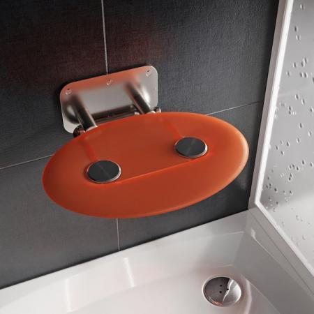 Ravak Ovo P II Siedzisko prysznicowe stal nierdzewna/pomarańczowe B8F0000050