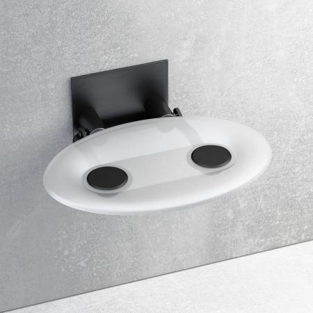 Ravak OVO-P Siedzisko Clear/Black 41x35 cm, czarny, przezroczysty B8F0000042