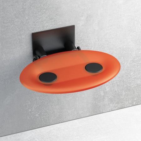 Ravak OVO-P Siedzisko Orange/Black 41x35 cm, czarny, pomarańczowy B8F0000044