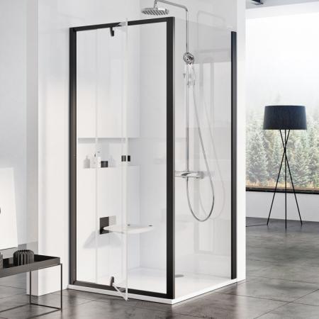 Ravak Pivot Drzwi uchylne 90x190 cm profile czarne szkło przezroczyste 03G70300Z1