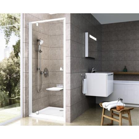 Ravak Pivot PDOP Drzwi prysznicowe 80x190 cm z powłoką AntiCalc, profile aluminium szkło przezroczyste 03G40C00Z1