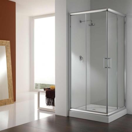 Rea Focus Kabina prysznicowa z brodzikiem 80x80 cm, profile chrom, szkło transparentne REA-K7421