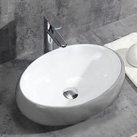 Rea Linda Silver Umywalka nablatowa 49x29,5 cm, biała/srebrna REA-U1135