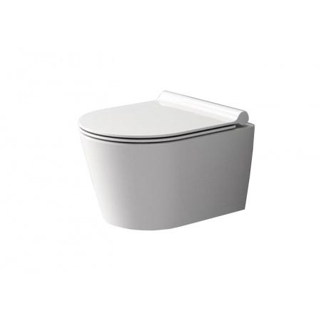 Rea Porter Toaleta WC podwieszana Rimless 50x35 cm z deską sedesową wolnoopadającą duroplastową cienką, biała REA-C1401