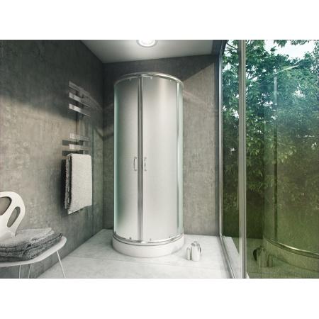 Rea Romance 2 Kabina prysznicowa z brodzikiem 78x90 cm, profile chrom, szkło fabric REA-K0215