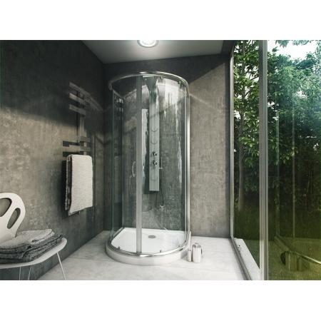 Rea Romance 3 Kabina prysznicowa z brodzikiem 100x90 cm, profile chrom, szkło fabric REA-K0372