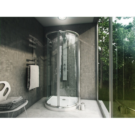 Rea Romance 3 Kabina prysznicowa z brodzikiem 100x90 cm, profile chrom, szkło grafit REA-K0373