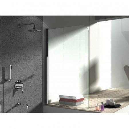 Rea Topaz Parawan wannowy 1-cześciowy 80x140 cm, profile chrom, szkło transparent REA-W0088