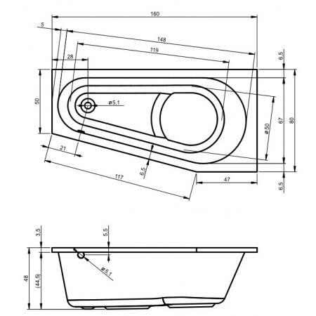 Riho Delta Wanna narożna asymetryczna z hydromasażem FLOW lewa 160x80 cm, biała BB83005F1GF1009