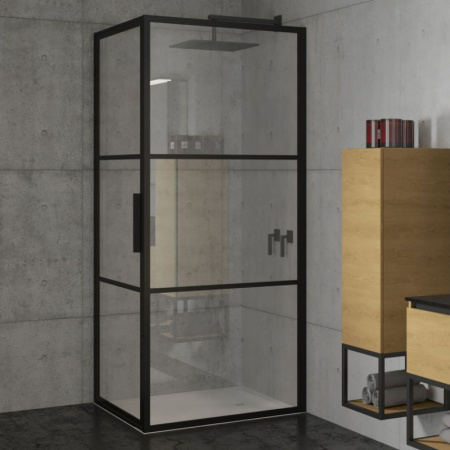 Riho Grid GB201 Kabina prostokątna 100x80x200 cm profile czarny mat szkło przezroczyste GB2100080