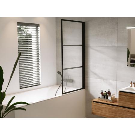 Riho Grid GB501 Parawan nawannowy 80x150 cm lewy profile czarny mat szkło przezroczyste GBB5080001