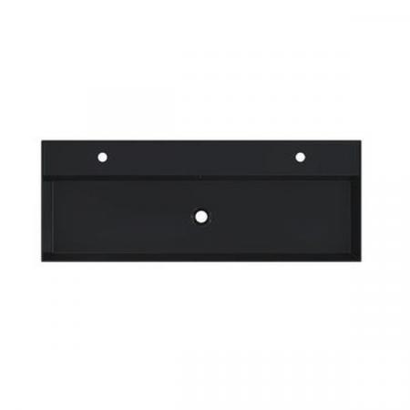 Riho Livit Glaze Top Umywalka wisząca lub meblowa 121x46 cm z 2 otworami na baterie czarny mat F70018
