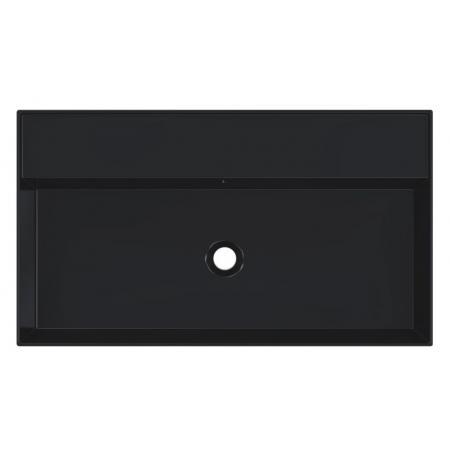 Riho Livit Glaze Top Umywalka wisząca lub meblowa 81x46 cm bez otworu na baterię czarny mat F70007
