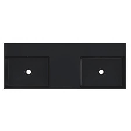 Riho Livit Glaze Top Umywalka wisząca lub meblowa podwójna 121x46 cm bez otworów na baterie czarny mat F70021