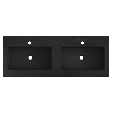 Riho Livit Stone Slim Umywalka meblowa podwójna 120,3x46 cm czarny mat F70056