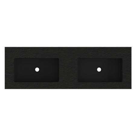 Riho Livit Stone Top Umywalka meblowa lub wisząca podwójna 140,3x46 cm czarny mat F70068