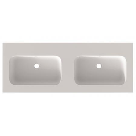 Riho Livit Velvet Slim Umywalka meblowa podwójna 120,5x46 cm z 2 otworami na baterie biały mat F70030