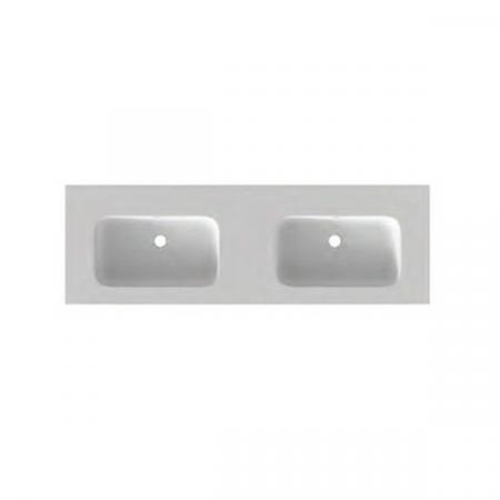 Riho Livit Velvet Slim Umywalka meblowa podwójna 140,5x46 cm bez otworów na baterie biały mat F70035