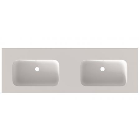 Riho Livit Velvet Slim Umywalka meblowa podwójna 140,5x46 cm z 2 otworami na baterie biały mat F70036