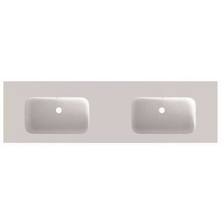 Riho Livit Velvet Slim Umywalka meblowa podwójna 160,5x46 cm bez otworów na baterie biały mat F70037