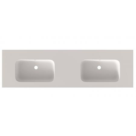 Riho Livit Velvet Slim Umywalka meblowa podwójna 160,5x46 cm z 2 otworami na baterie biały mat F70038