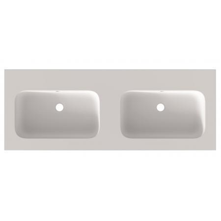 Riho Livit Velvet Top Umywalka meblowa lub wisząca podwójna 120,5x46 cm bez otworów na baterie biały mat F70045