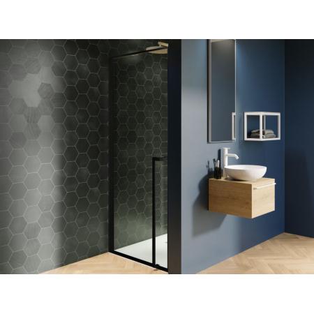 Riho Lucid GD101 Drzwi uchylne 100x200 cm profile czarny mat szkło przezroczyste GD110B000