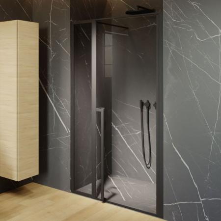 Riho Lucid GD104 Drzwi uchylne 110x200 cm profile czarny mat szkło przezroczyste GD111B000