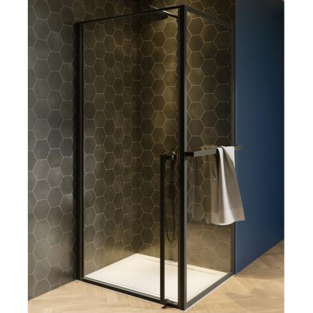Riho Lucid GD201 Kabina prostokątna 90x80x200 cm profile czarny mat szkło przezroczyste GD209B080