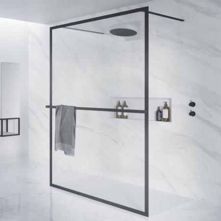 Riho Lucid GD401 Kabina Walk-in 90x200 cm profile czarny mat szkło przezroczyste GD309B000