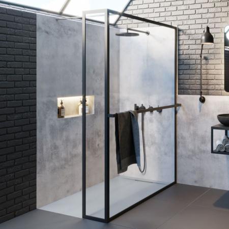 Riho Lucid GD402 Kabina Walk-in 100x30x200 cm profile czarny mat szkło przezroczyste GD410B030