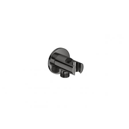 Roca Black Round Uchwyt słuchawki prysznicowej z przyłączem węża czarny A5B5250CN0