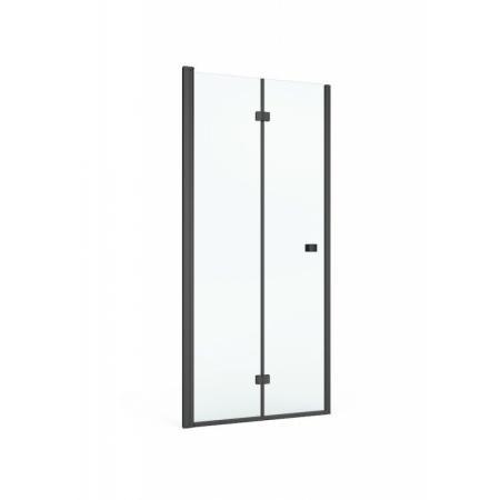 Roca Capital Black Drzwi składane do wnęki 80x195 cm profile czarny mat szkło przezroczyste z powłoką MaxiClean AM4508016M