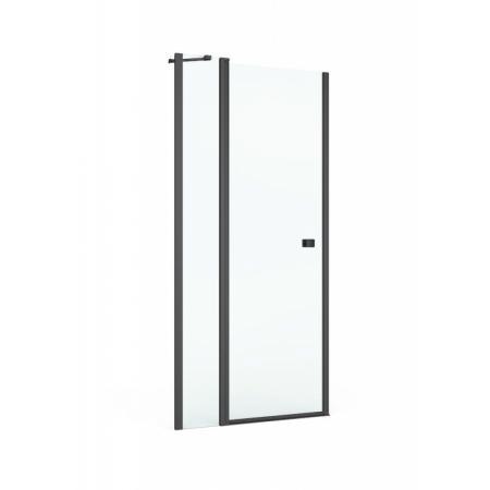 Roca Capital Black Drzwi uchylne 90x195 cm profile czarny mat szkło przezroczyste z powłoką MaxiClean AM4609016M