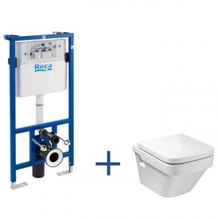 Roca Dama-N Toaleta WC podwieszana 36x50x40 cm Compacto ze stelażem i powłoką MaxiClean, biała A8900900MP