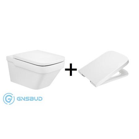 Roca Dama-N Zestaw Toaleta WC podwieszana 57x36 cm Rimless bez kołnierza z deską sedesową wolnoopadającą, biała A34678L000+A801782004